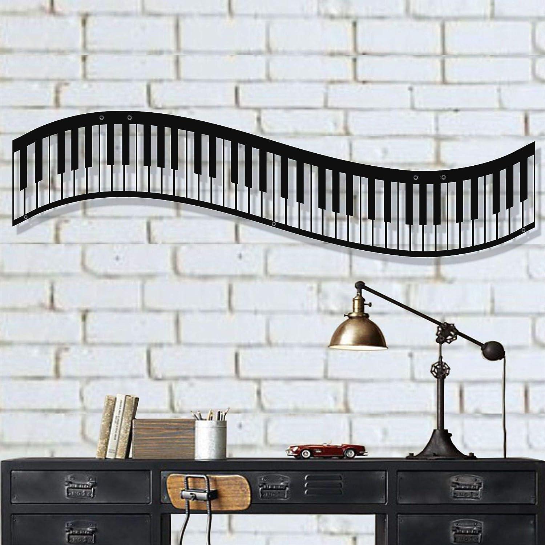 "Metal Wall Art, Metal Piano Wall Art, Music Decor, Interior Decoration, Office Decor, Bedroom Living Room Decor, Wall Hangings (47""W x 13""H / 120x34cm)"