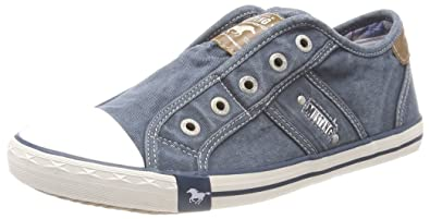 Mustang Damen 1099-401 Slip on Sneaker, Blau (Blau/Grün), 37 EU