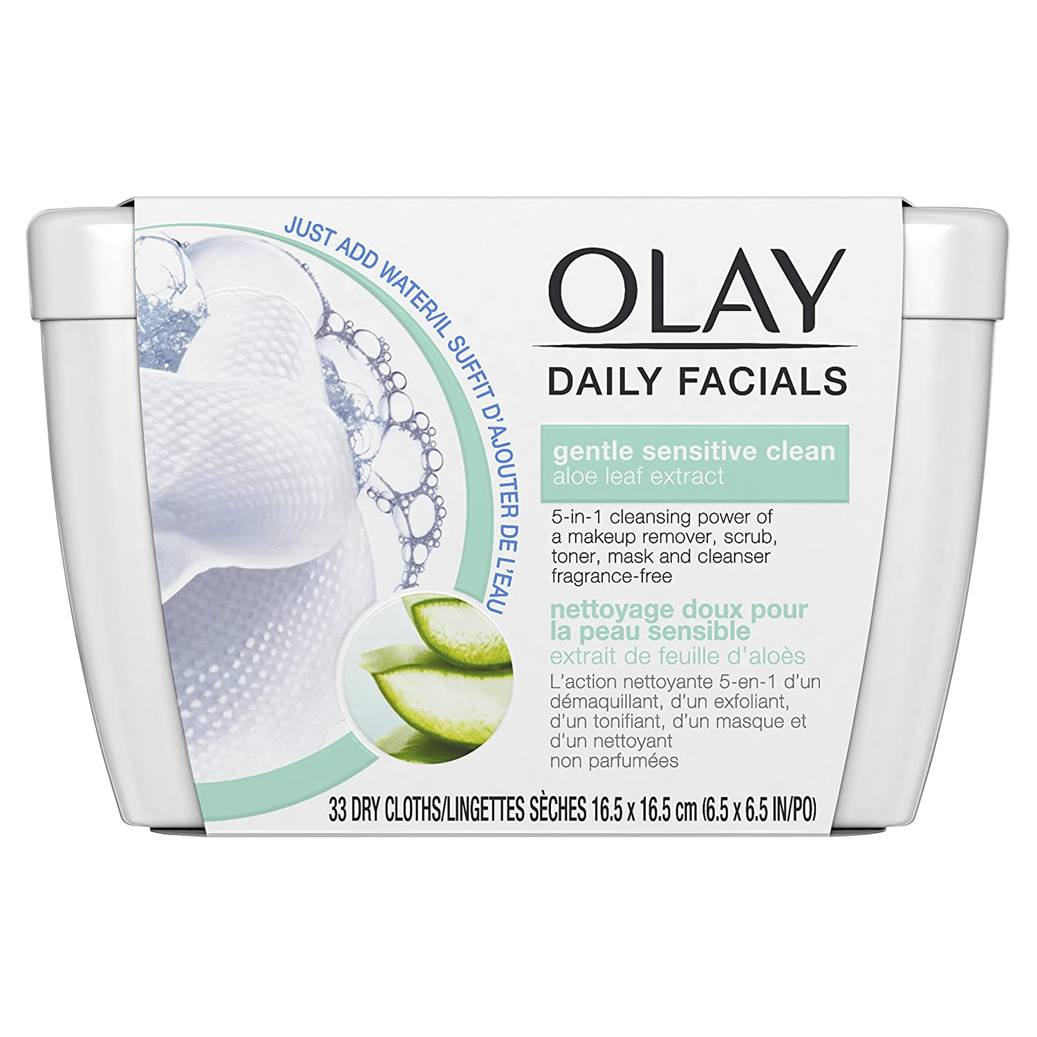 Olay Daily Facial Sensitive Cleansing Cloths w/Aloe Extract, Makeup Remover 33 Count, Pack of 2 NA
