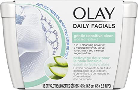 Olay Daily Sensitive Cleansing Cloths Tub with Aloe Extract Makeup Remover, 33 ct