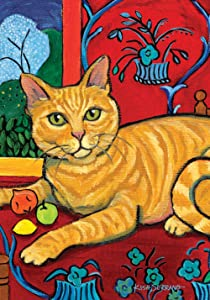 Toland Home Garden Cattise Orange Tabby 12.5 x 18 Inch Decorative Colorful Kitty Cat Portrait Painting Garden Flag