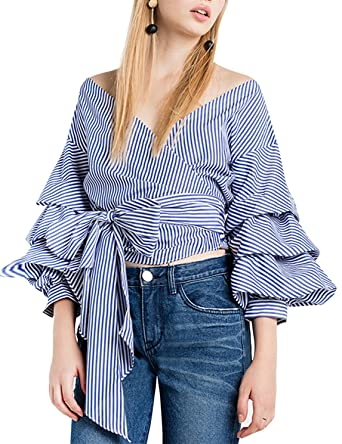 HAOYIHUI Women's Wrap V Neck Stripe Tiered Sleeve Tie Front Blouse Top(S, Striped