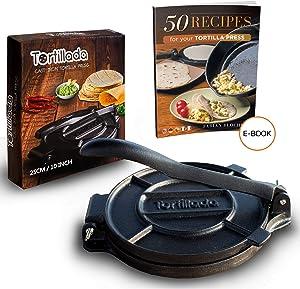 Tortillada – Premium Cast Iron Tortilla Press with Recipes E-Book (10 Inch)