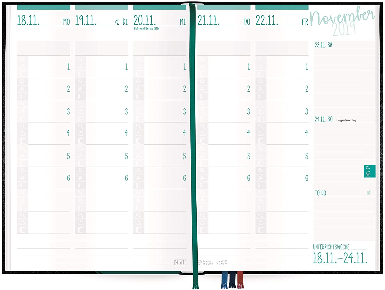Stickern und vielen n/ützlichen Features Lehrer-Planer 2019//2020 A5+ Schwarz Lehrerkalender mit Spr/üchen smart /& gut gelaunt das Schuljahr planen!