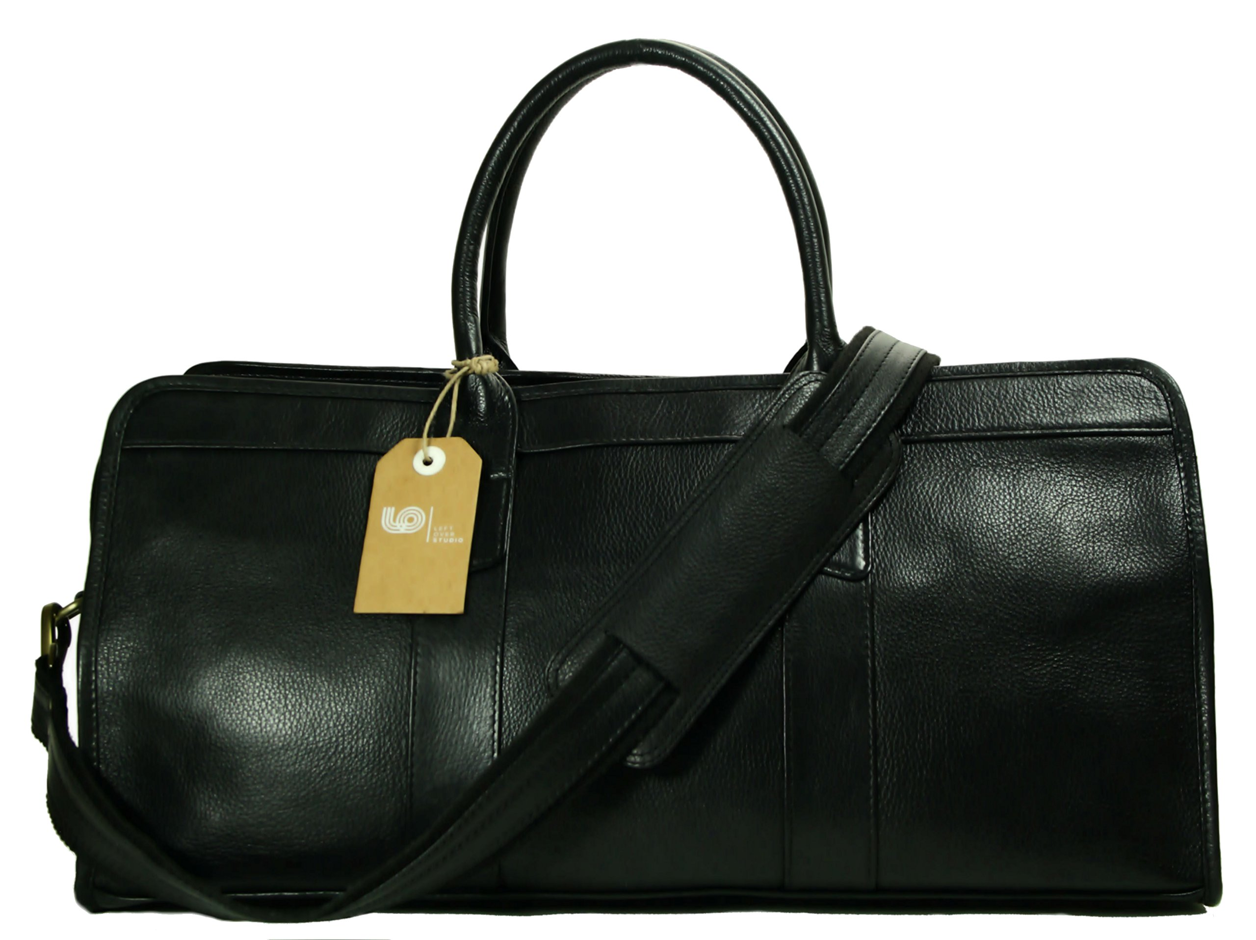 Top Grain Calf Leather 20'' Weekender Overnight Travel Duffel in Black by Leftover Studio