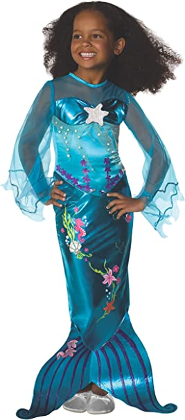 Disfraz-sirenita-azul-niña Carnaval: Amazon.es: Juguetes y juegos