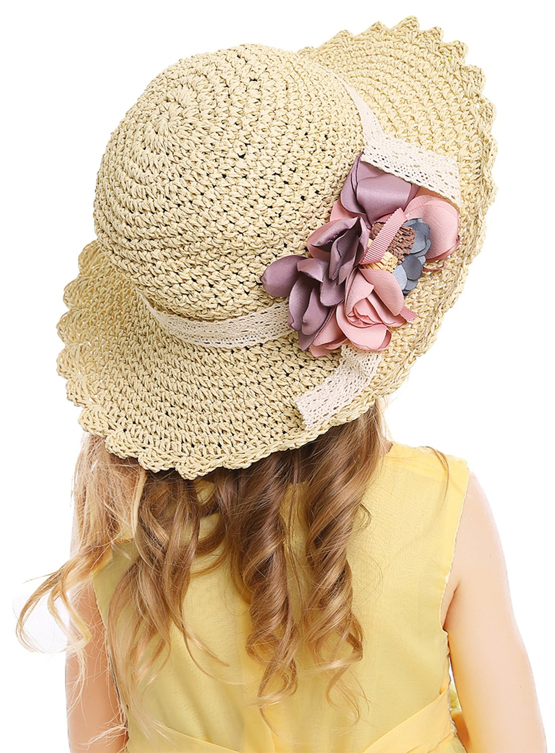 Bienvenu Kids Girl Summer Straw Hat with Flowers Beach Sun Protection Hats,Style2_Beige