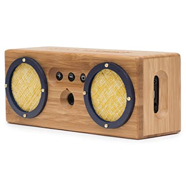 Bongo Bamboo Bluetooth Speaker - Portable & Wireless Retro Wood Design - Vintage Tweed