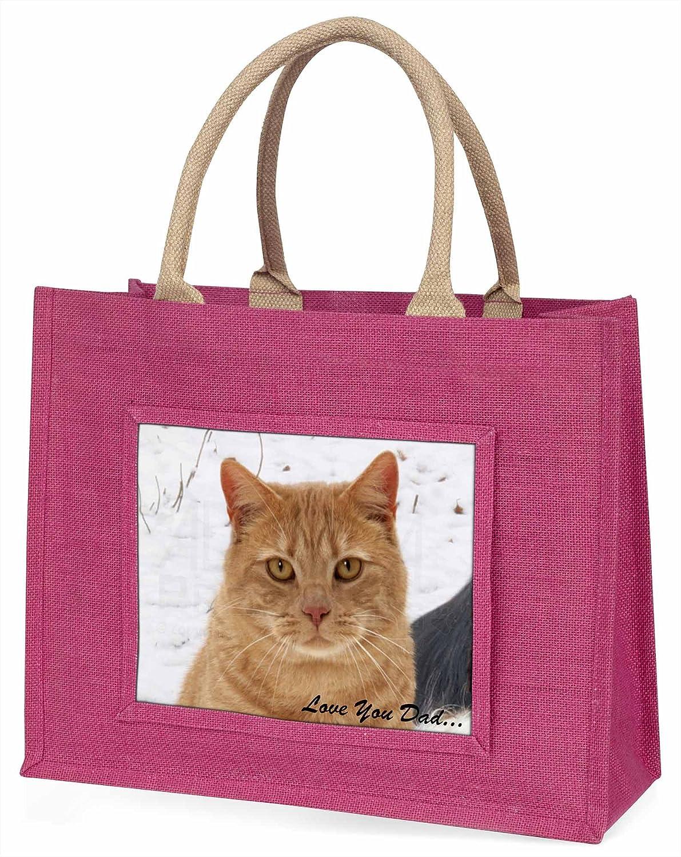 Ingwer-Katze \'Love You Dad\' Große rosa Jute Einkaufstasche ...