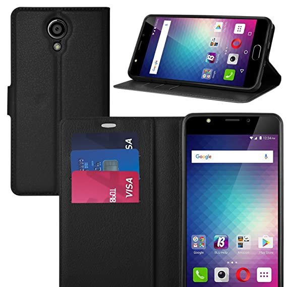 official photos 14dc8 0ce71 BLU Life ONE X2 case, KuGi BLU Life ONE X2 case Ultra-Thin MX Style PU  Cover + TPU Back Wallet Stand Case for BLU Life ONE X2 Smartphone(Black)