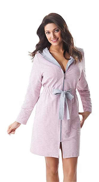 selected material separation shoes great deals Women Soft Short Zip Up Striped Bathrobe Dressing Gown ...