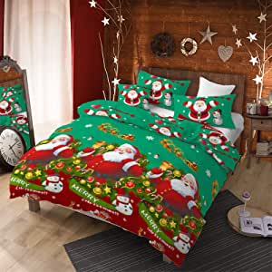 3Pcs Christmas Duvet Cover Set King (104x90 inches) with Pillowcases, Merry Christmas Santa Claus Snowman Jingling Bell Snowflake Lights, Thin Lightweight Comforter Cover Bedding Set (Green,King)