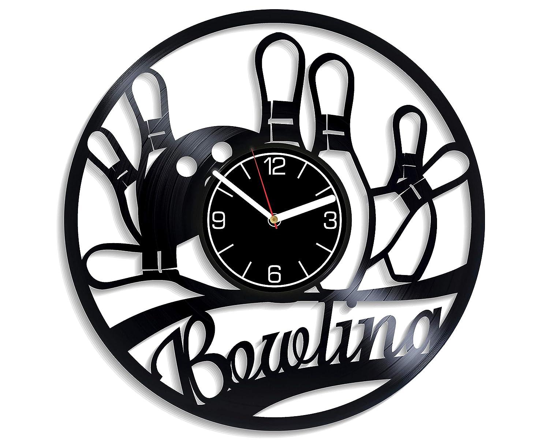 Kovides Bowling Vinyl Record Wall Clock Bowling Wall Art Hobby Home Decor Bowling Clock Bowling Vinyl Clock Gift for Men Bowling Wall Clock Vintage Bowling Gift Wall Clock Large