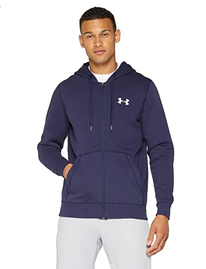 a3d4d1e1e Under Armour Men's Rival Fleece Fitted Full Zip Hoodie, Midnight Navy  /White, Small