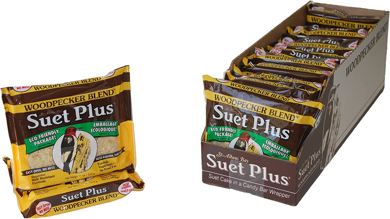 Suet Plus Bird Suet Cake 12 Pack of 11 oz Suet Cakes (Woodpecker Blend)