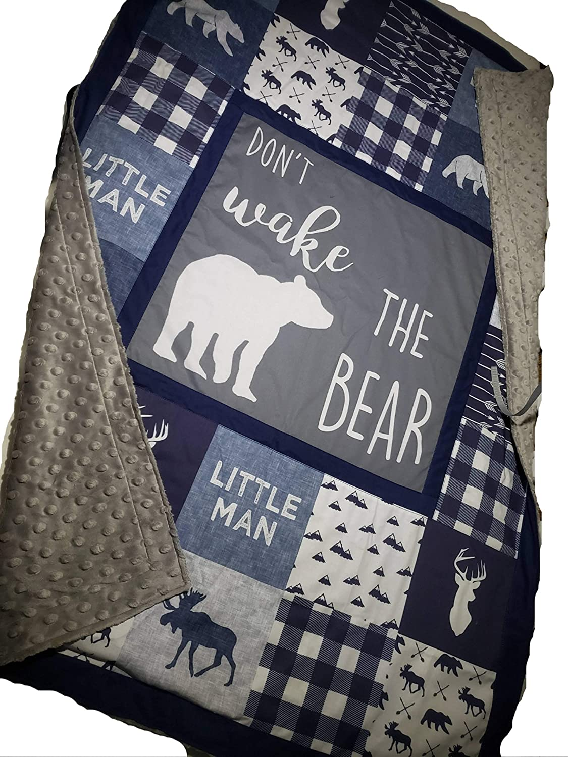 Dont wake the bear,lumber jack,woodland 1 to 4 Piece baby boy nursery crib bedding, Personalized, Quilt with minky back,Rail guards,bed skirt,crib sheet,moose,bear, navy plaid