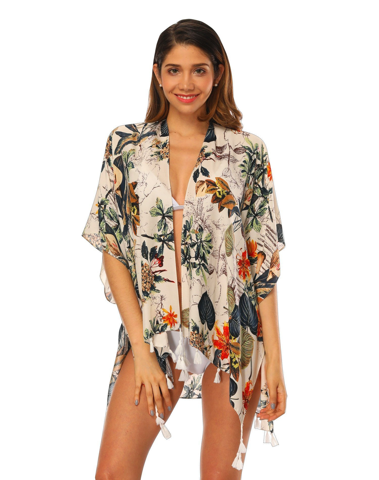 Women's Beach Cover up Swimsuit Bikini Kimino Cardigan with Floral Print (Color 5)
