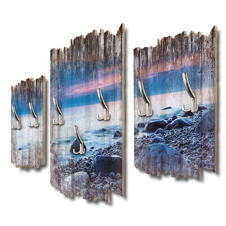 Kreative Feder Steine am Strand Designer Wandgarderobe Flurgarderobe Wandpaneele 95 x 60 cm aus MDF DTGH097
