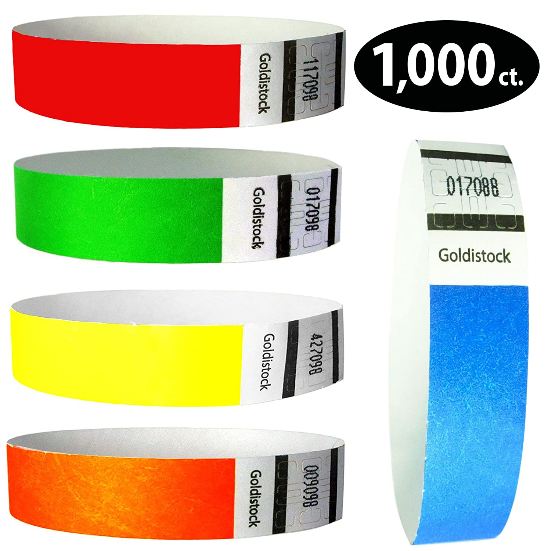 Goldistock 3/4 Tyvek Wristbands Rainbow 1,000 Ct. Variety Pack- 100 Each: Neon Blue, Green, Yellow, Orange, Red