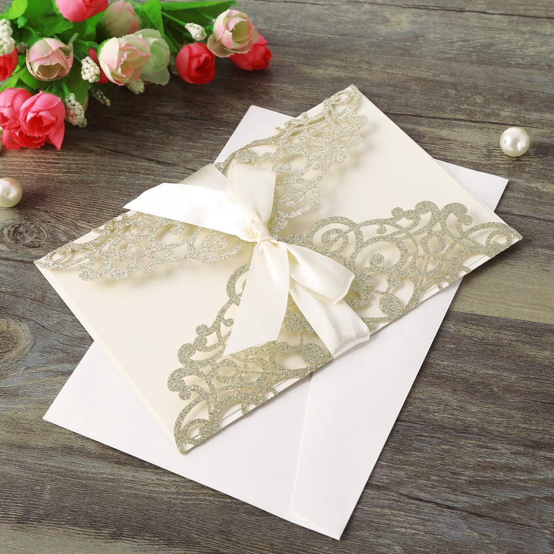 20pcs Champagne inviti da matrimonio carta con Nastro Pizzo Flora Design per la festa di compleanno di festa di compleanno Quinceanera Hosmsua 20pcs taglio Laser