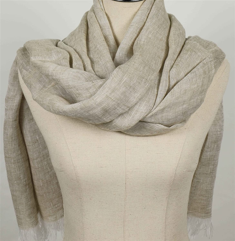 "Tessitura Pardi Woman's Natural Italian Soft-Hand Tissue Linen Fashion Scarf 30"" X 84"" (76cm x 213cm)"