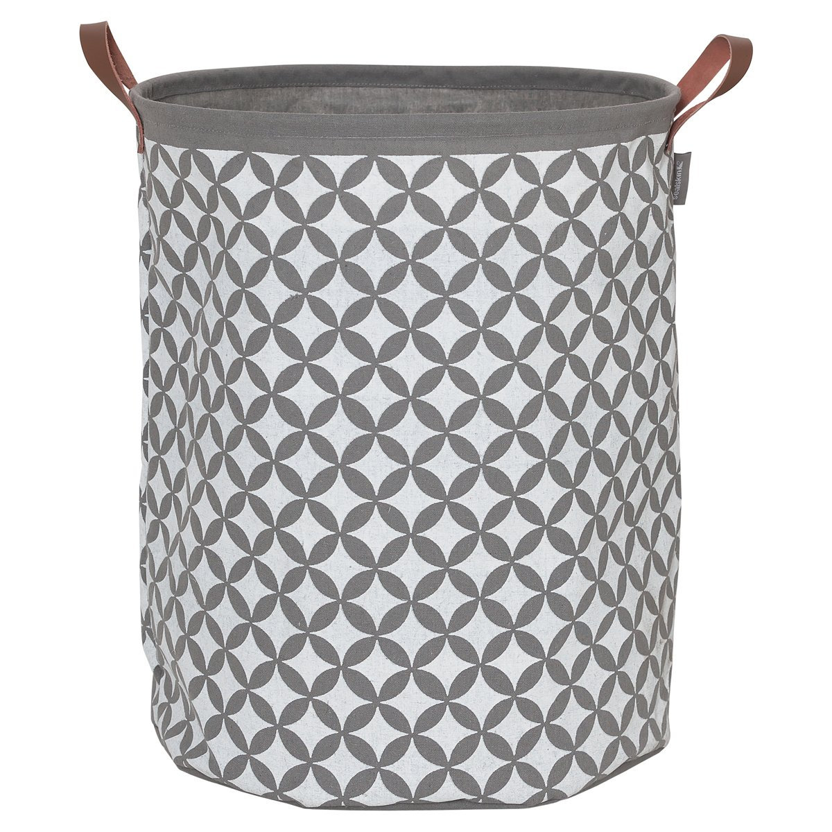 Sealskin 362302012Diamonds Laundry Basket made of Fabric with Leather-Look Handles, Colour: Grey, 50x 40x 40cm