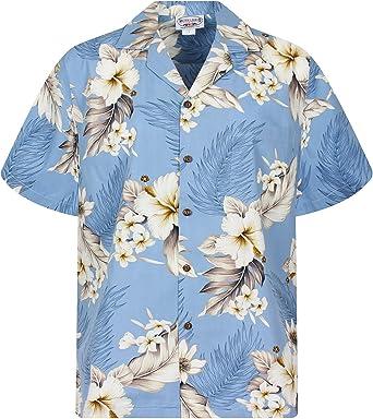 Pacific Legend | Original Camisa Hawaiana | Caballeros | S - 4XL | Manga Corta | Bolsillo Delantero | Estampado Hawaiano | Flores | Azul Claro