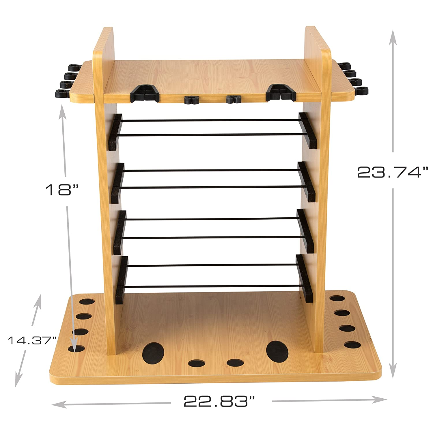 Rush Creek Creations 14 Fishing Rod Rack with 4 Utility Box Storage Capacity Dual Rod Clips – Features a Sleek Design Wire Racking System