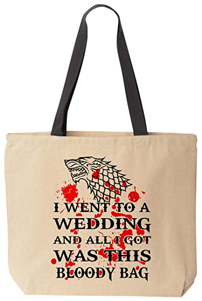 BeeGeeTees I Went to a Wedding Bloody Bag Dire Wolf Stark Funny Canvas Tote Bag