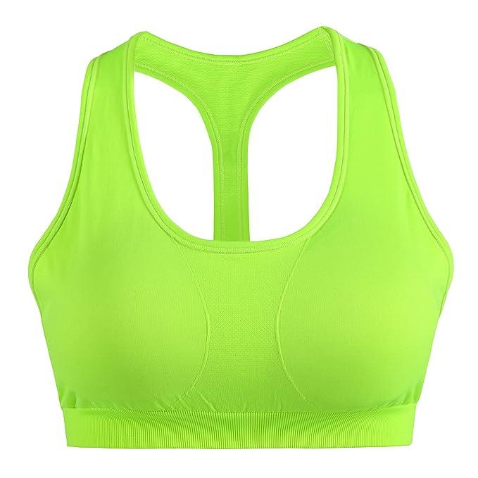 sujetador deportivo cómodo para mujer de color neón
