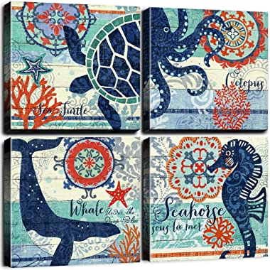 4 Panel Teal Blue Home Wall Art Decor Framed Artwork for Bathroom Living Room Canvas Print Beach Coastal Sea Turtle Octopus Seahorse Whale Pictures Posters Bedroom Decoration 12 x 12  / Piece Set