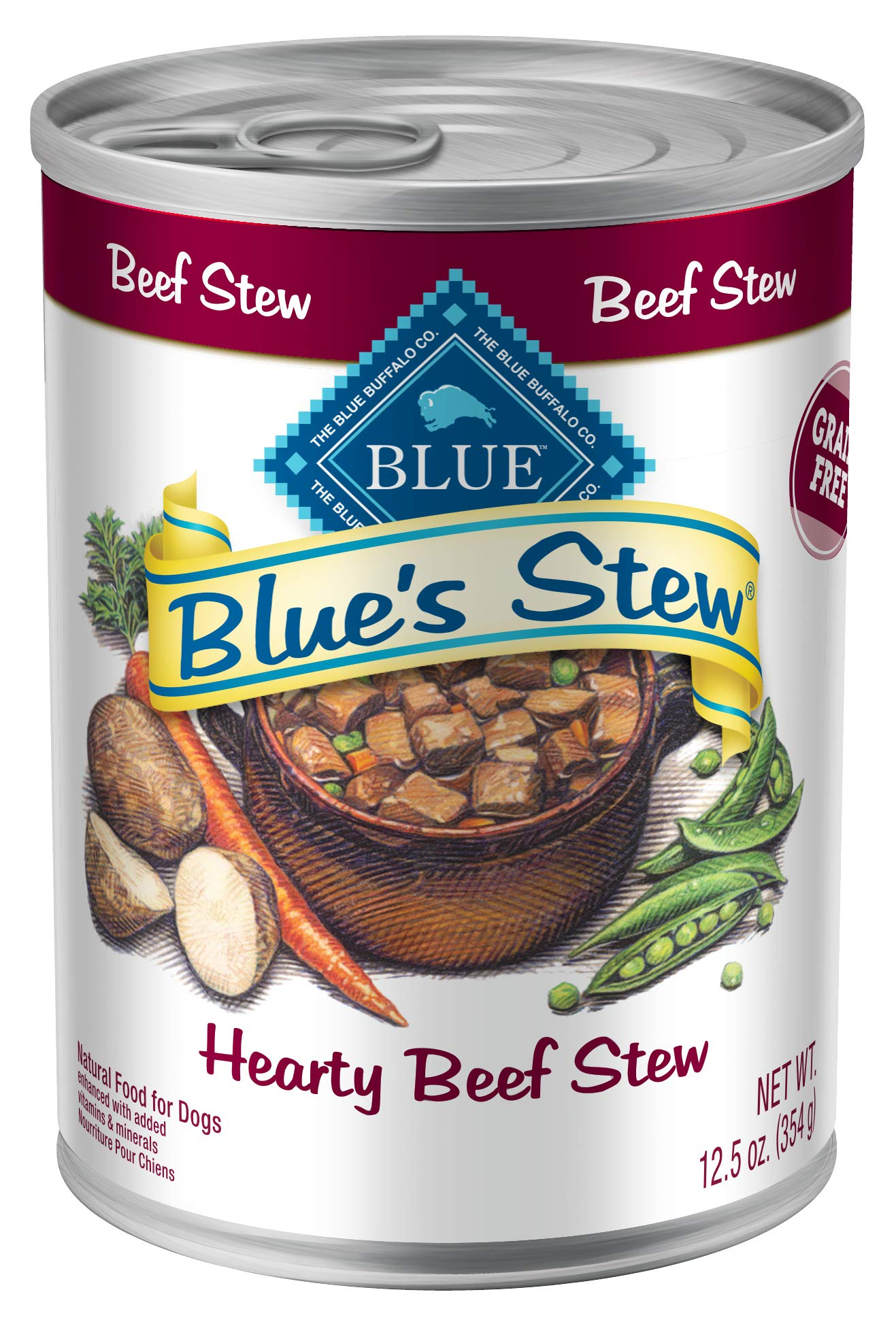 Blue Buffalo Blue's Stew Natural Adult Wet Dog Food, Beef Stew 12.5-oz can (Pack of 12) by Blue Buffalo