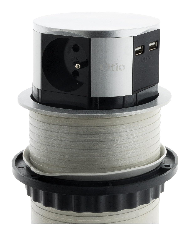 Otio 760062 regleta con 3 enchufes Escamoteables Push Compact 16 A + 2 USB gris/negro: Amazon.es: Bricolaje y herramientas