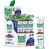 Tosi Organic SuperBites Vegan Snacks, Blueberry Almond, 1oz (Pack of 12), Gluten Free, Omega 3s, Plant Protein Bars with Flax