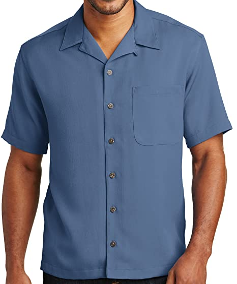 1960s – 70s Mens Shirts- Disco Shirts, Hippie Shirts Upscale Mens Short Sleeve Easy Care Camp Shirt - Blue $34.99 AT vintagedancer.com