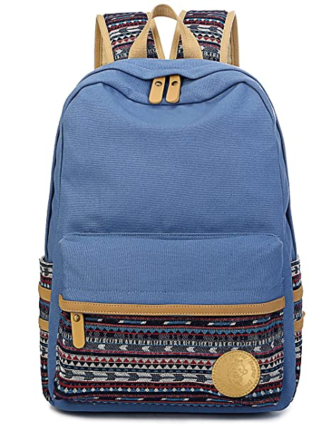 ff6133085b Amazon.com  Leaper Casual Style Lightweight Canvas Laptop Bag Cute Backpack  Shoulder Bag School Backpack Travel Bag (Light Blue A3)  Computers    Accessories