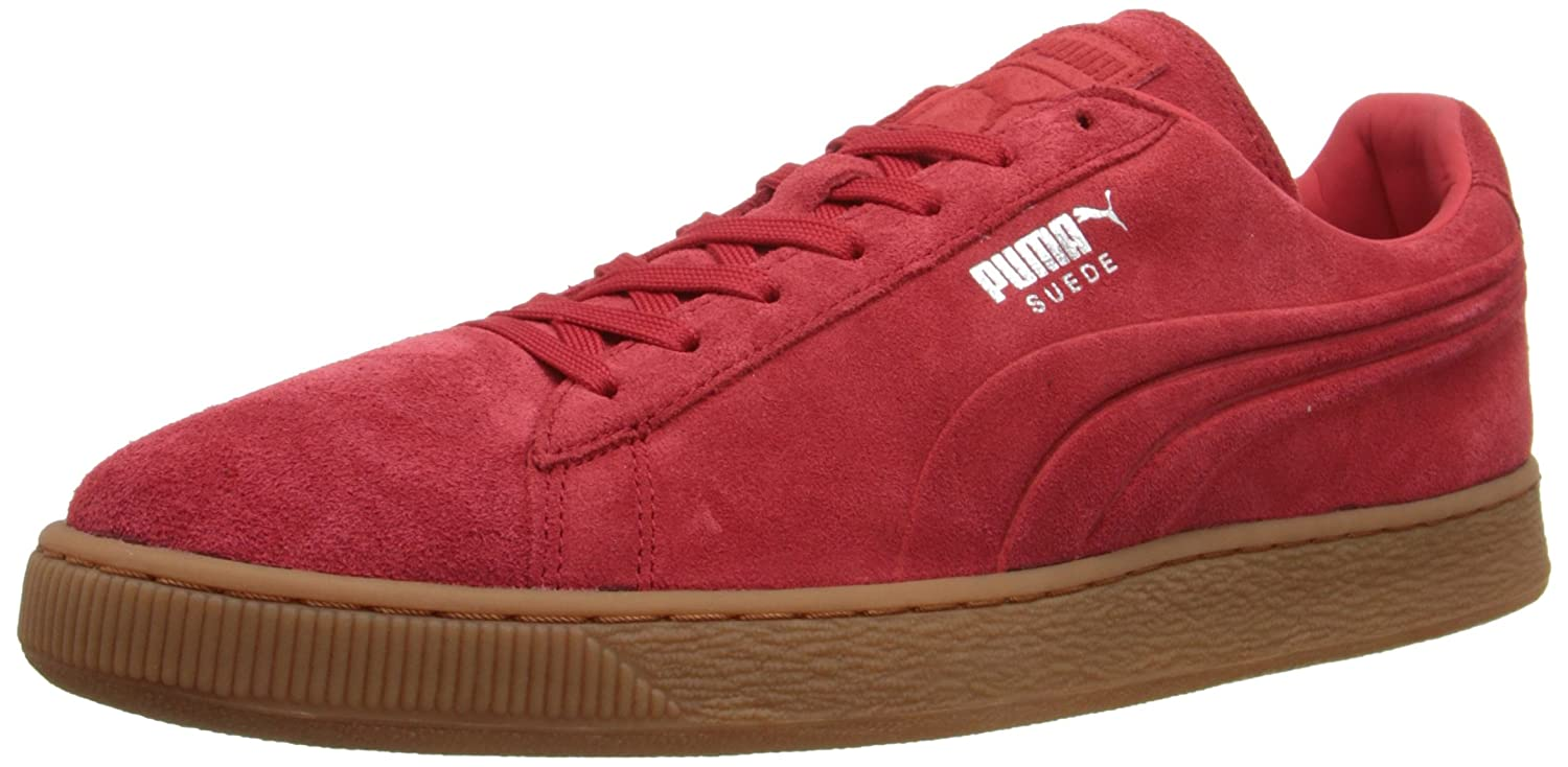 Puma Herren Suede Emboss Rot Wildleder Turnschuhe  46 EU|High Risk Red-Gum
