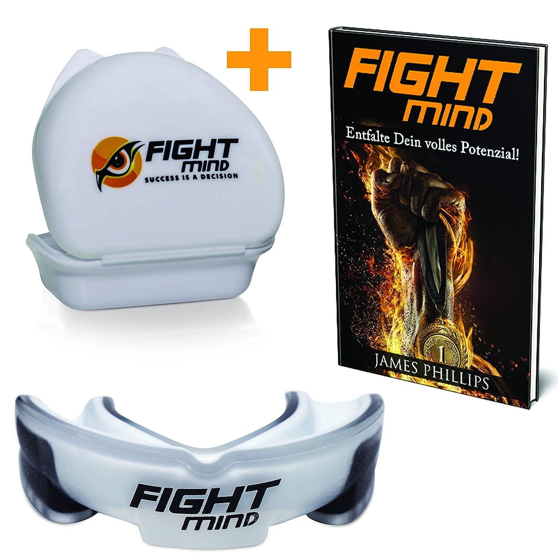 Fight Mind Defender Profi Mundschutz - Zahnschutz   Zubehör für Deine Schutzausrüstung + EBook + Box + mehr O₂ + BPA freier Zahnschutz   Zahnschutz für Boxen, Kampfsport, American Football, MMA, Kickboxen, Muay Thai, Krav MAGA