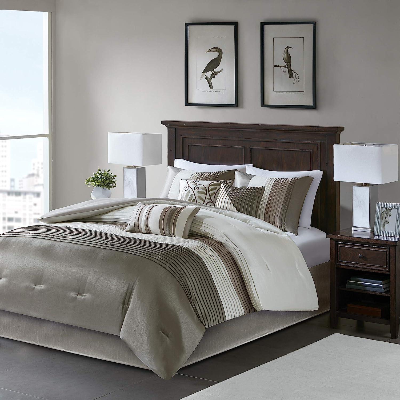 Amazon Com Madison Park Amherst 7 Pcs Comforter Set Natural Queen