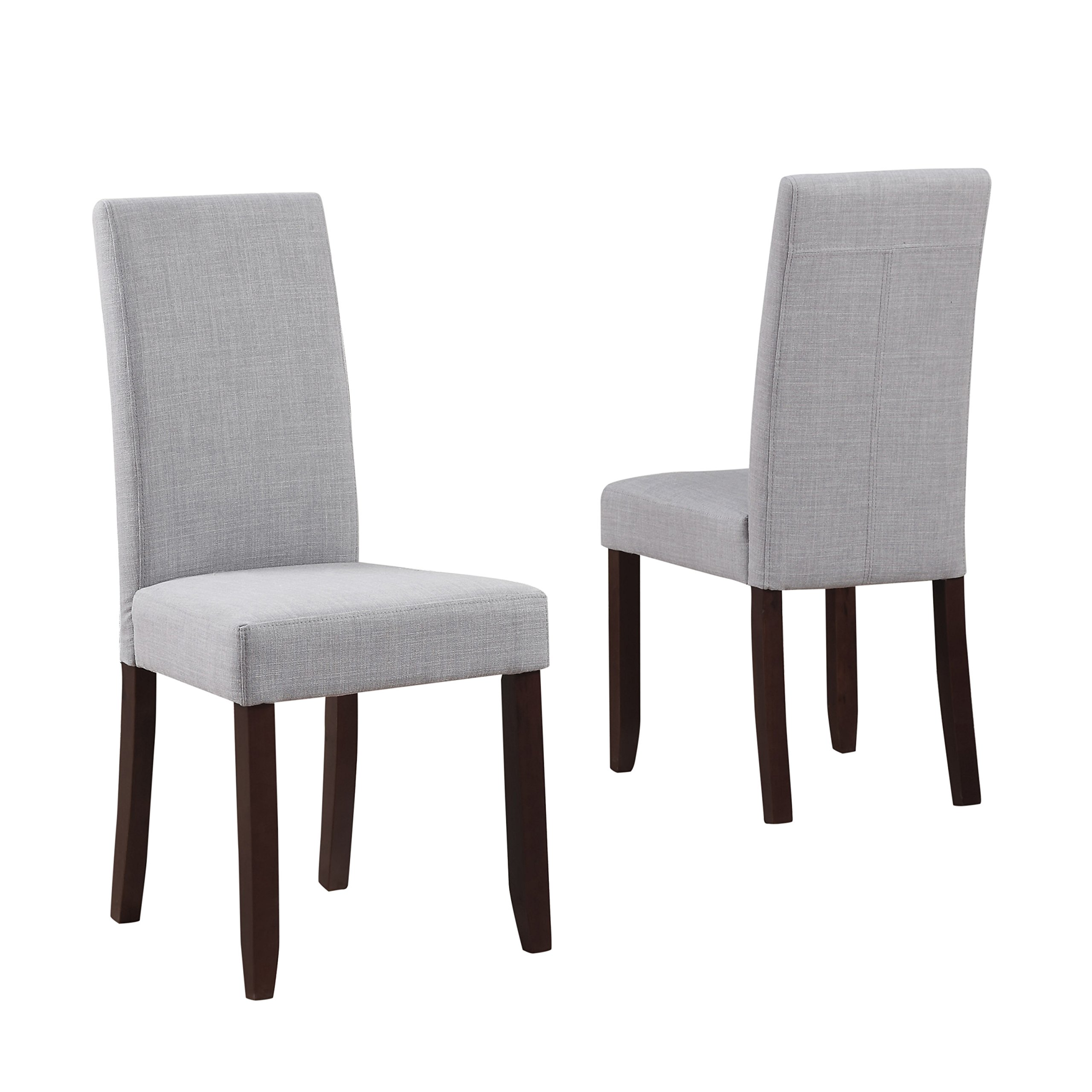 Simpli Home Acadian Parson Dining Chair, Dove Grey (Set of 2)