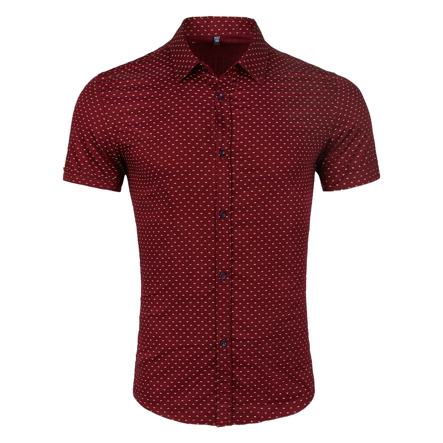 WULFUL Men's Printed Dress Shirt Business Casual Short Sleeve Regular Fit Button Down Point Collar Shirts Wine Red02 X-Large