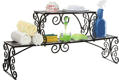 MyGift Over-The-Sink Black Metal Scrollwork Design 2 Tier Kitchen Organizer Shelf Rack Stand