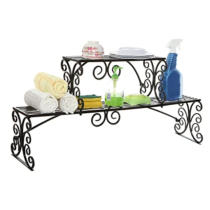 Over The Sink Black Metal Scrollwork Design 2 Tier Kitchen Organizer Shelf  Rack Stand