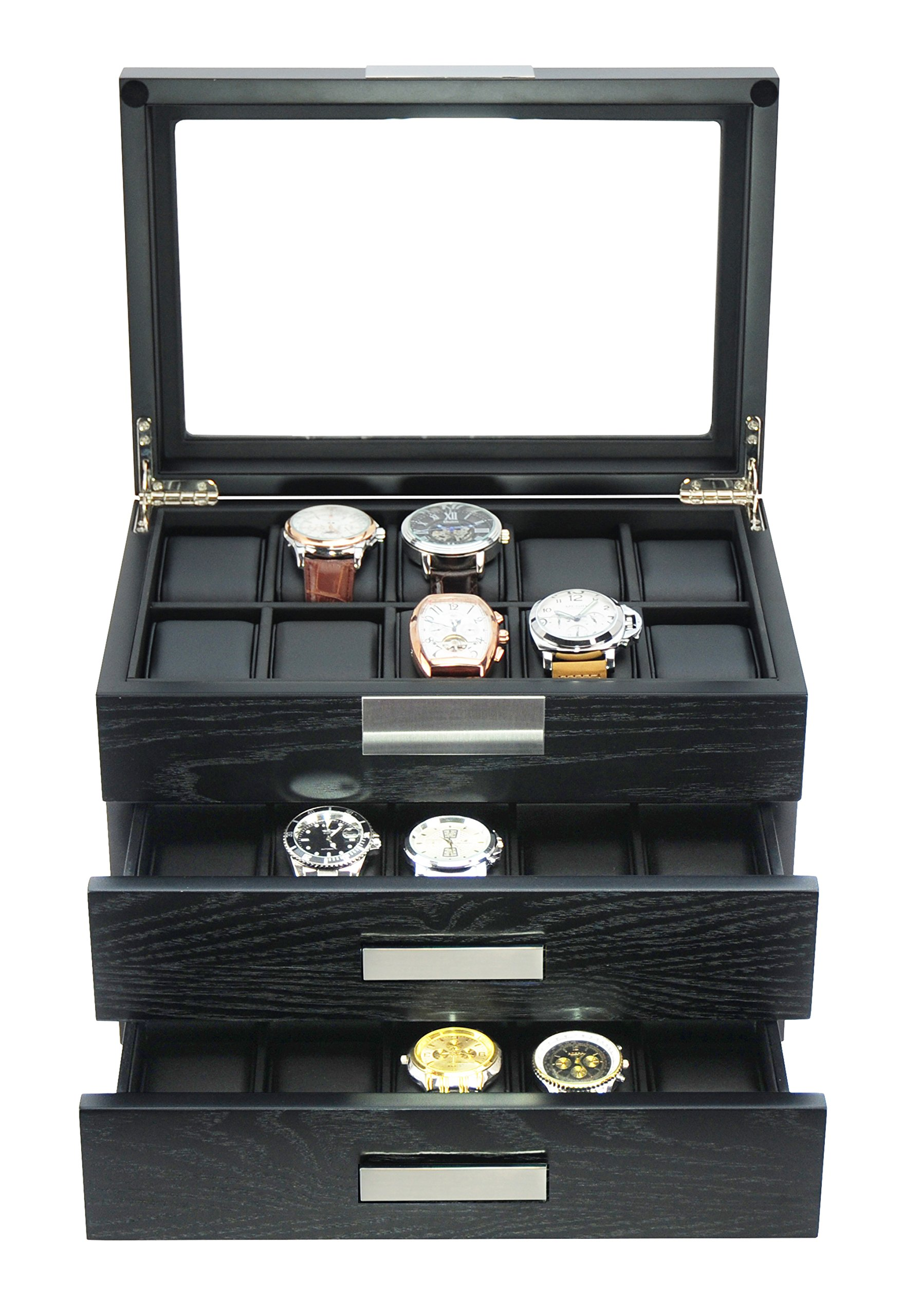 TimelyBuys 30 Ebony Wood Watch Box Display Case 3 Level Storage Jewelry Organizer with Glass Top, Stainless Steel Accents, and 2 Drawers ...