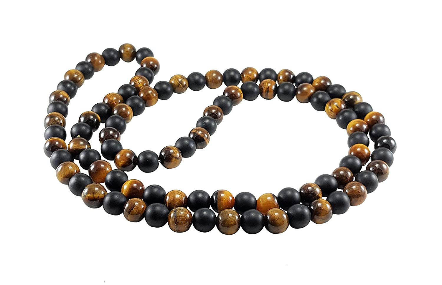 72f1c2660df49 Thommy Brand Men's Beaded Necklace Tiger's Eye Matte Black Onyx 8mm Natural  Gemstone Beaded Jewelry 30