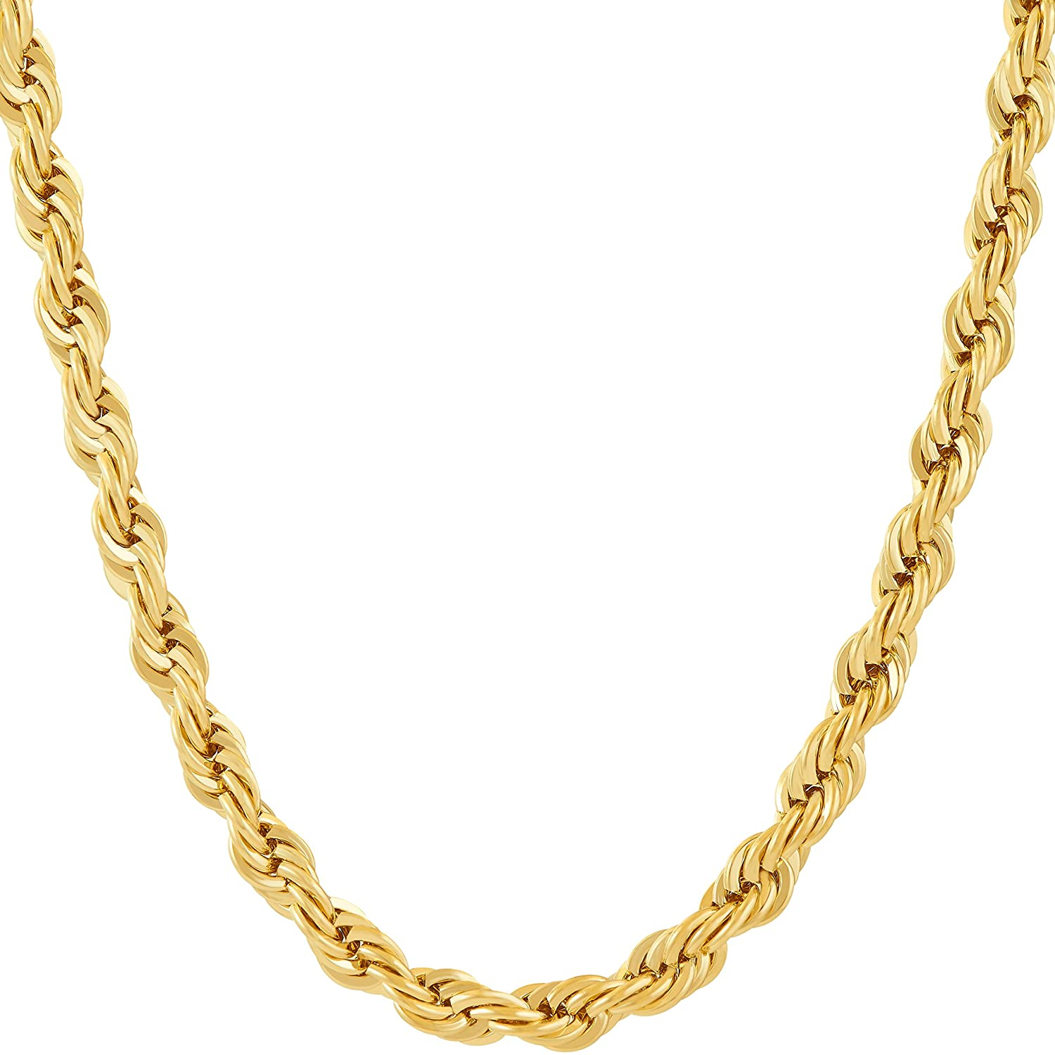 Lifetime Jewelry Chains for Men & Women [ 6mm Rope Chain ] Up to 20X More 24k Real Gold Plating Than Other Gold Plated Chains - Durable Gold Necklace 16 to 36 inches 24K Gold with Inlaid Bronze Premium Fashion Jewelry Guaranteed for Life Choker