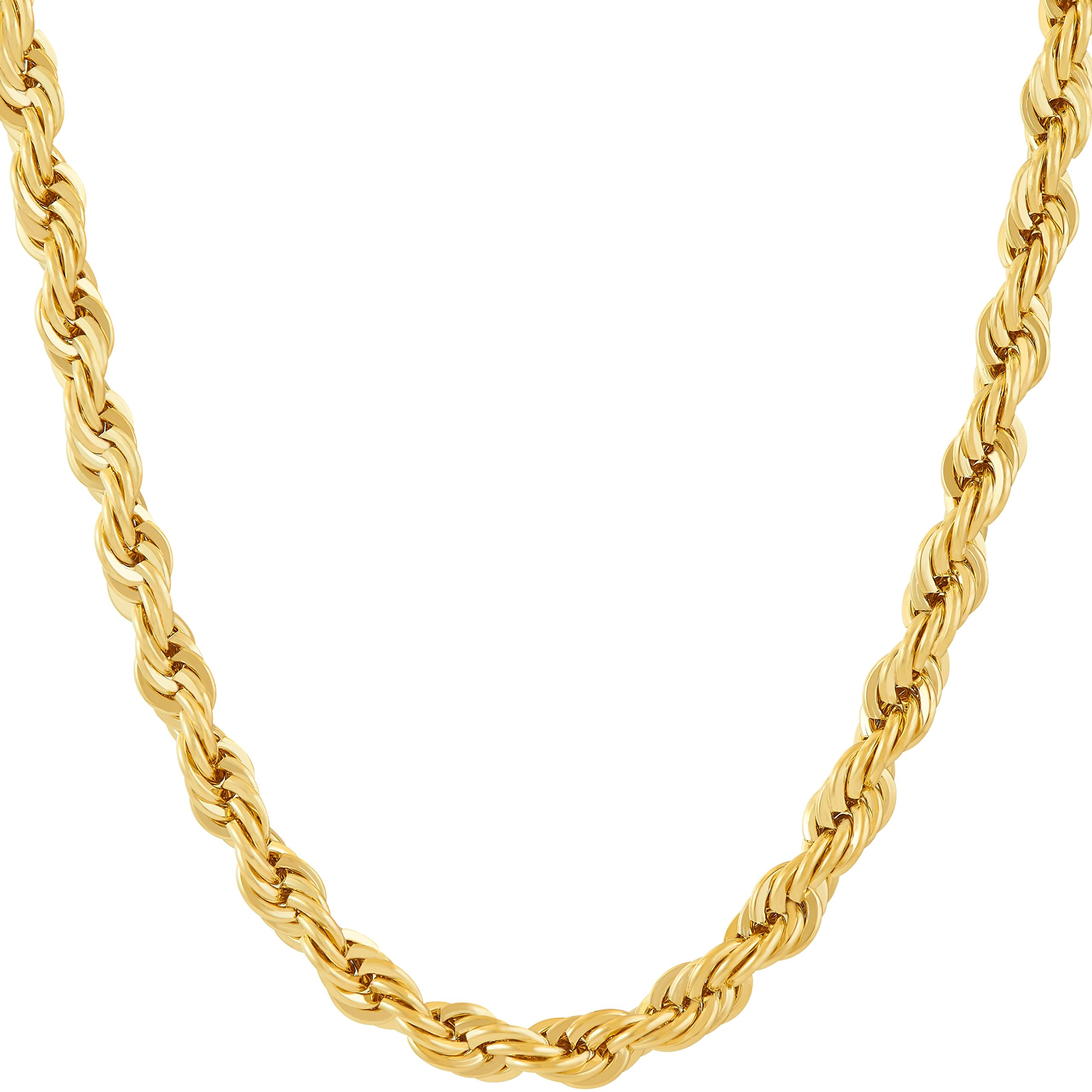 Lifetime Jewelry 6MM Rope Chain, 24K Gold with Inlaid Bronze, Premium Fashion Jewelry, Pendant Necklace Made to Wear Alone or with Pendants, Guaranteed for Life, 24 Inches