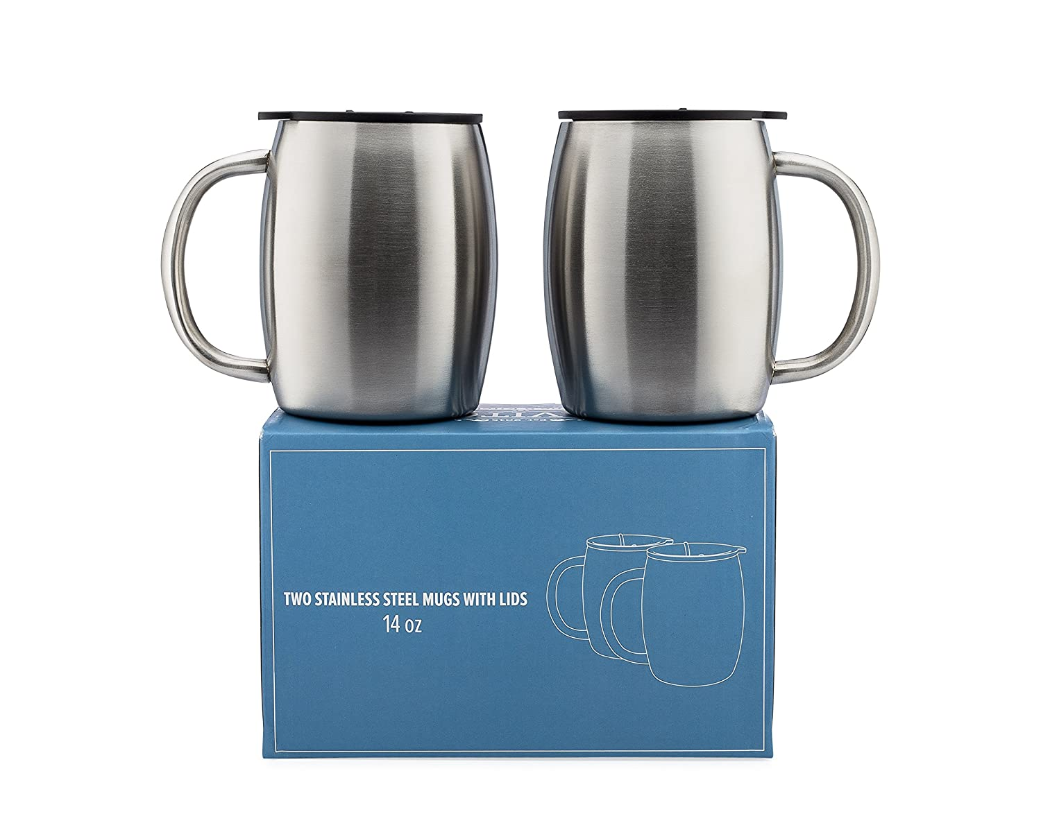 Stainless Steel Coffee Mugs with Lids - 14 Oz Double Walled Insulated Coffee Beer Mugs - Set of 2 by Avito - Best Value - BPA Free Healthy Choice - Shatterproof and Spill Resistant