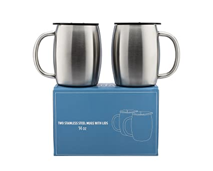 amazon com stainless steel coffee mugs with lids 14 oz double