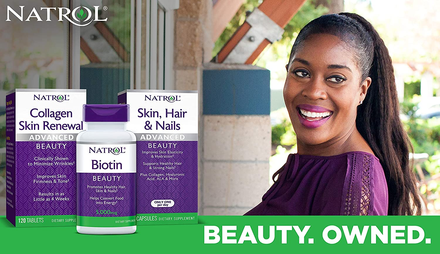Natrol Biotin Beauty Tablets Promotes Healthy Hair Skin Nails Helps Support Energy Metabolism Helps Convert Food Into Energy 10 000mcg 60count